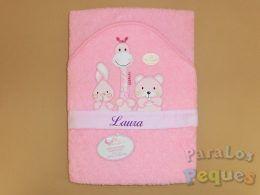 Capa de baño para bebe rosa bordada lila jirafa