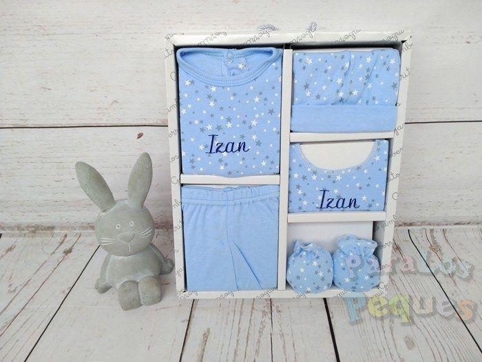 Conjunto de primera puesta estrellas bebe azul bordado azul