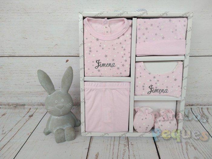 Conjunto de primera puesta estrellas bebe rosa bordado gris oscuro