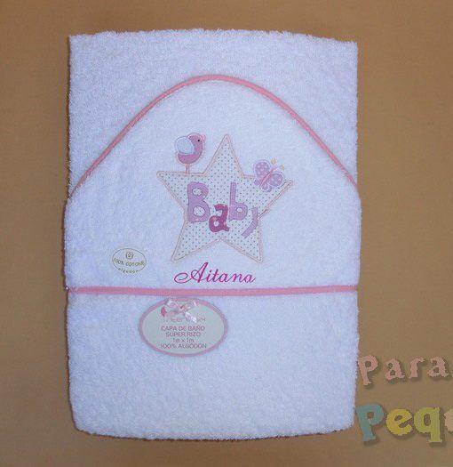 Capa de baño para bebe bordada estrella rosa