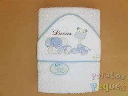 Capa de baño para bebe zoo azul bordada chocolate