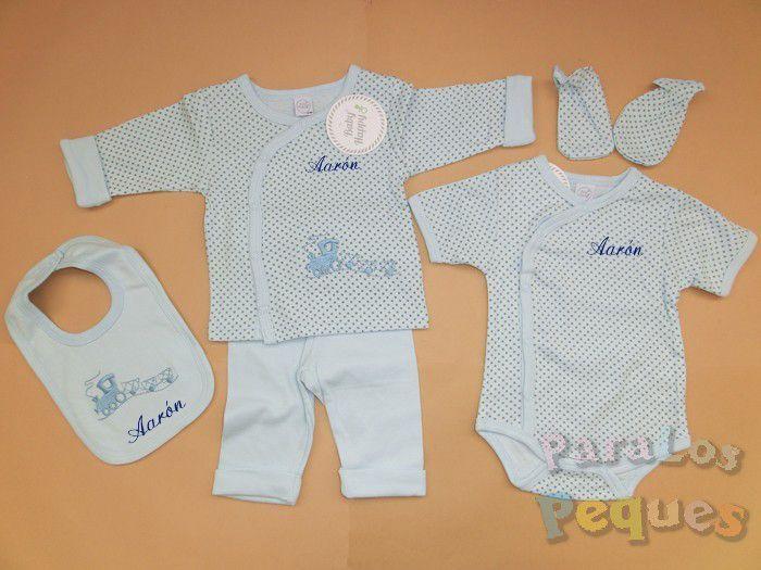 Conjunto ropita bebe azul bordada en azul oscuro