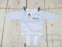 Conjunto de primera puesta milrayas bebe azul bordado