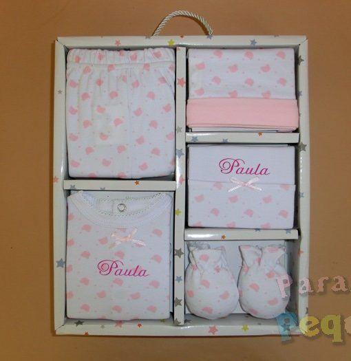 Conjunto de primera puesta ositos rosa bordado fucsia