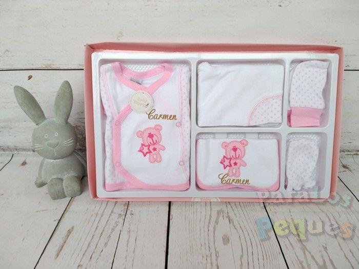 Conjunto de primera puesta osita rosa bordado fucsia