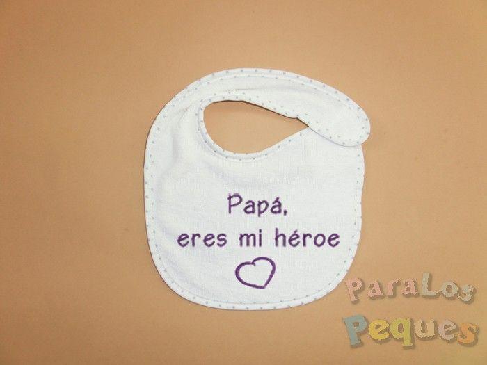 Regalo papa - Babero bordado papá eres mi héroe