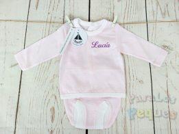 Conjunto de primera puesta milrayas bebe rosa bordado