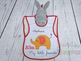 Babero plastificado elefante bordado bebe para guardería y colegio