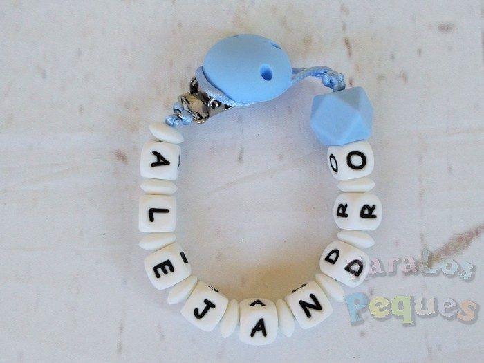 chupetero silicona personalizado azul para bebe