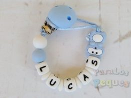 chupetero silicona personalizado azul y blanco para bebe