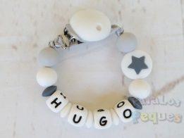 chupetero silicona personalizado estrella gris para bebe