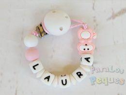 chupetero silicona personalizado rosa y blanco para bebe