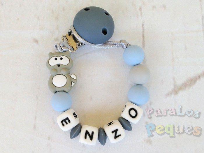 chupetero silicona personalizado gris y azul para bebe