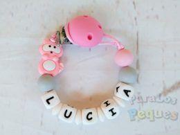 chupetero silicona personalizado rosa y gris para bebe