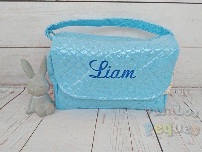 Bolso solapa azul bordado azul oscuro para coche bebe