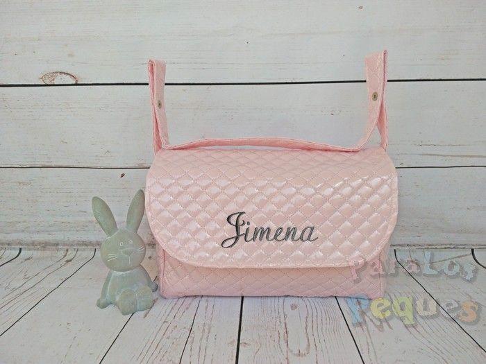 Bolso solapa rosa bordado gris para coche bebe